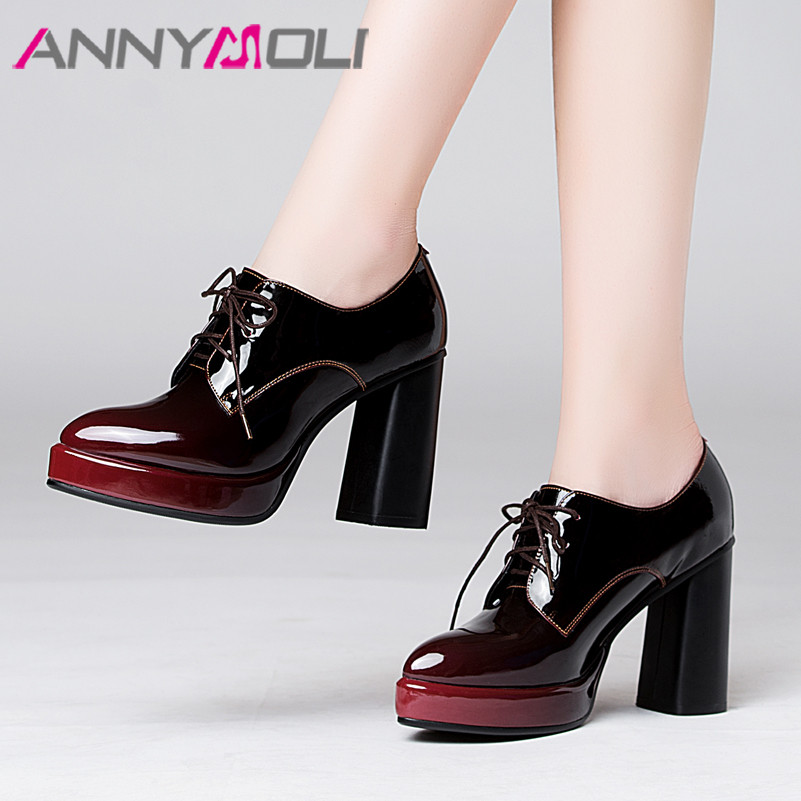 ANNYMOLI High Heels Women Pumps Natural Genuine Leather Thick High Heels Shoes Real Leather Pointed Toe Shoes Ladies Big Size 43