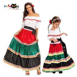 Traje de halloween feminino, traje de halloween folk, tradicional, feminino, para crianças, para carnaval, festa de família, vestido extravagante