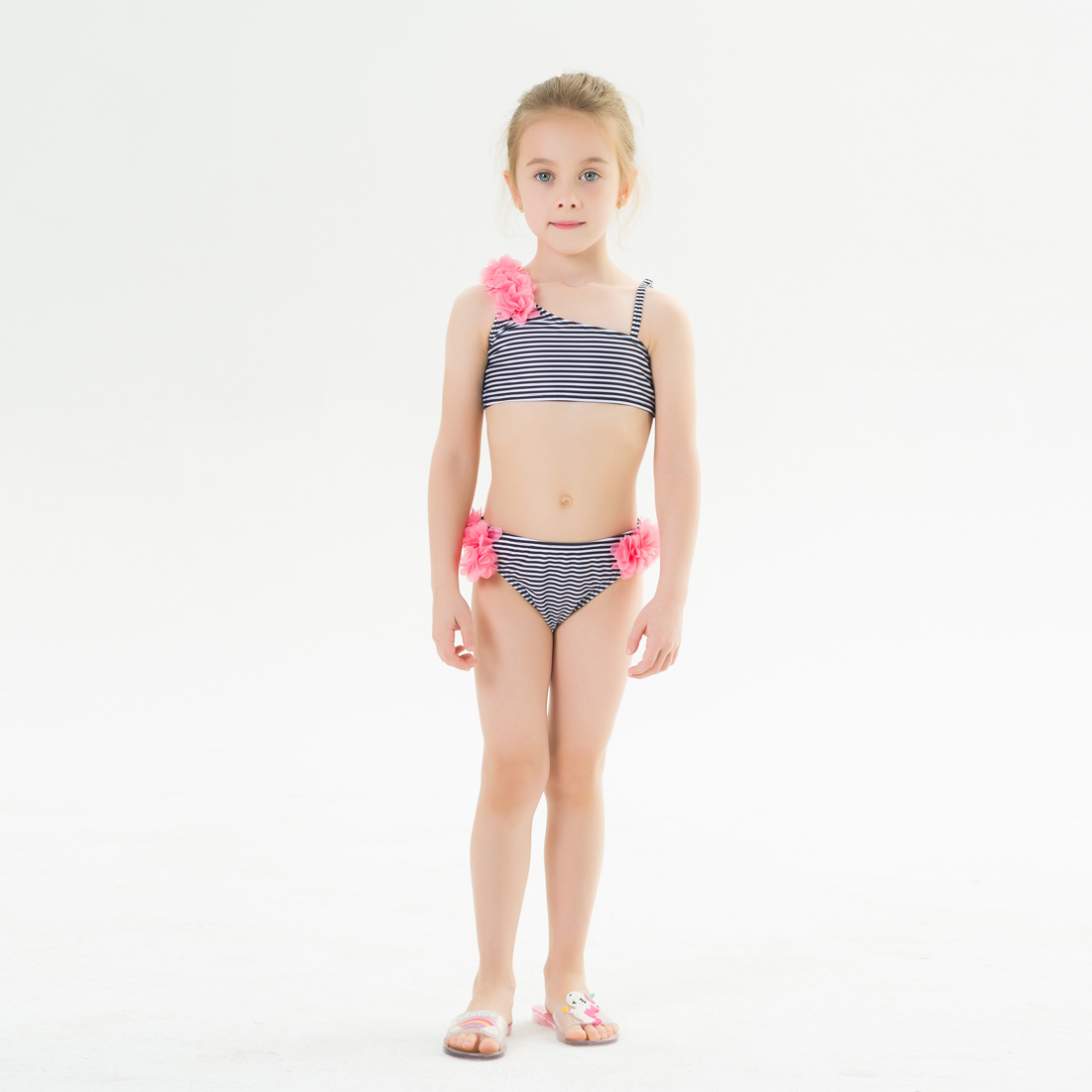BABY GAP Girls Flowered Stripe Shoulder Bathing Swimsuit  4  5