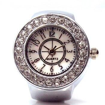 2020 New Couple Ring Watch Retro Diamond Analog Clock Digital Scale Dial Quartz Wristwatch Elastic Quartz Watch Relogio Feminino creative watch women oval dial rhinestone quartz bangle clock full steel analog quartz saats hot relogio feminino