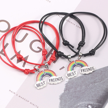 1 Pair Rainbow Best Friends Bracelets For Women Girl Retro Leather Rope Adjustable Bangles Bff Forever LGBT Jewelry Gift Pulsera