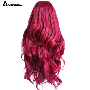 Image 2 - Anogol Burgundy Synthetic Lace Front Wig High Temperature Fiber Long Natural Body Wave Wine Red Wigs For Women