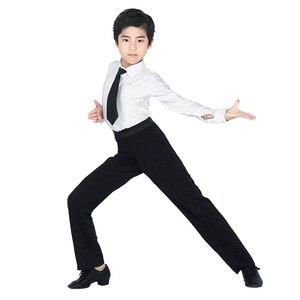 Image 4 - מקצועי גברים שחור לטיני ריקוד מכנסיים בני למבוגרים סאטן סלוניים ריקוד מכנסיים סלסה טנגו רומבה סמבה Cha Cha לטיני מכנסיים