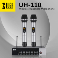 XTUGA UH110 UHF Dual Channel Wireless Handheld Microphone, Easy to use Karaoke Bluetooth microphone with Treble/Bass/Echo Effect