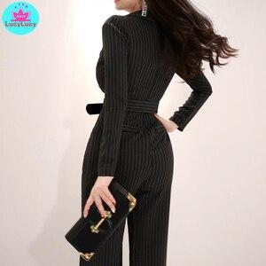 Image 5 - 2019 נשים של ניו קוריאני חליפת טמפרמנט צווארון slim הרזיה גבוהה מותן רצועת רחב רגל סרבל