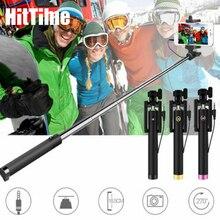 HitTime Palo de Selfie extensible para teléfono móvil palo de Selfie portátil con obturador manual, con cable de 3,5mm, para Apple, iPhone y Samsung