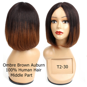 Image 5 - Bobbi Collection Straight Human Hair Wigs I Type Lace Part Wig Cheap Middle Part Full Wigs Short Bob Style Brazilian Remy Hair