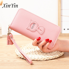 Simple cute cat wallet women purses tassel fashion coin purse phone handbags new card holders zipper