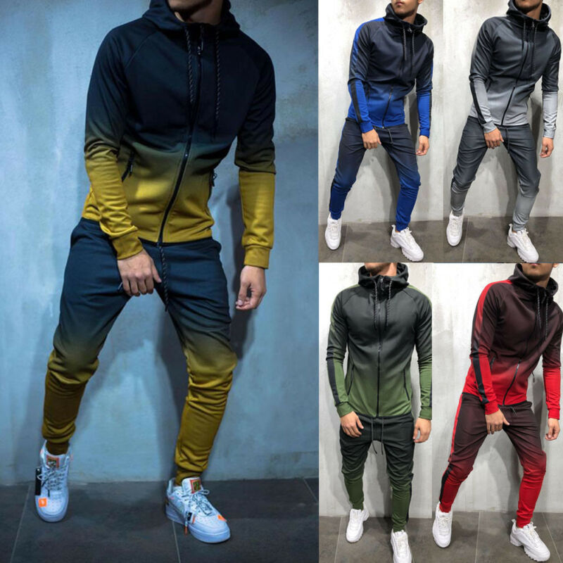 Fashion Men Turtleneck Gradual Change Color Tracksuit Set Hoodie Top+ High Waist Bottoms Joggers Gym Plain Zip Pockets Slim Fit