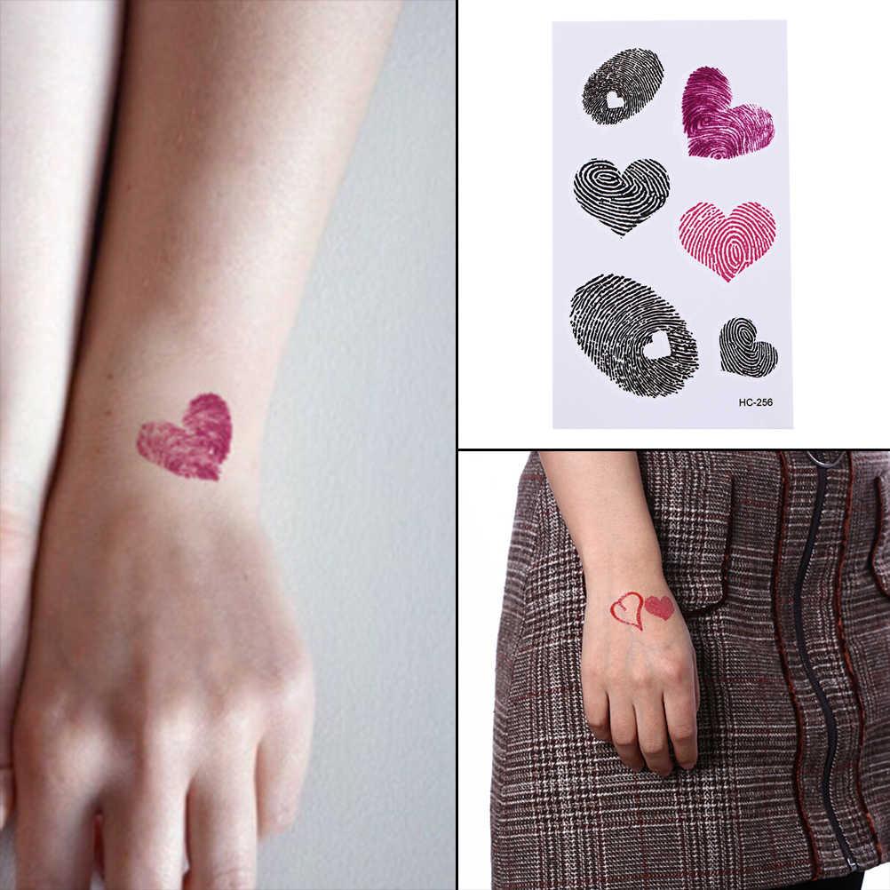 Pembe siyah sahte aşk kalp tasarımı geçici dövme makyaj çıkartmalar el kol bacak su geçirmez parmak izi vücut sanatı dövme araçları