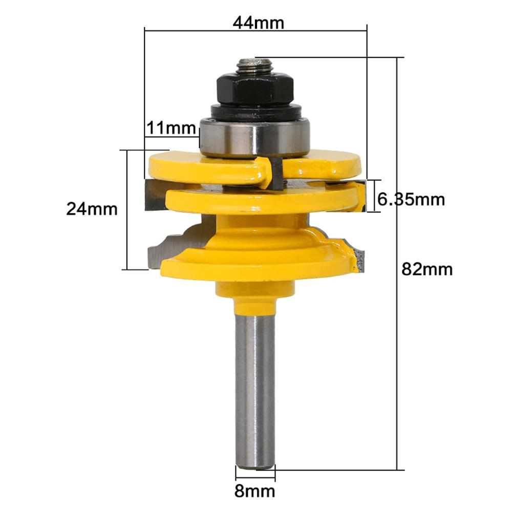8mm Shank Glass Door Rail Stile Reversible Router Bit For Woodworking Cutter Cutting Tool