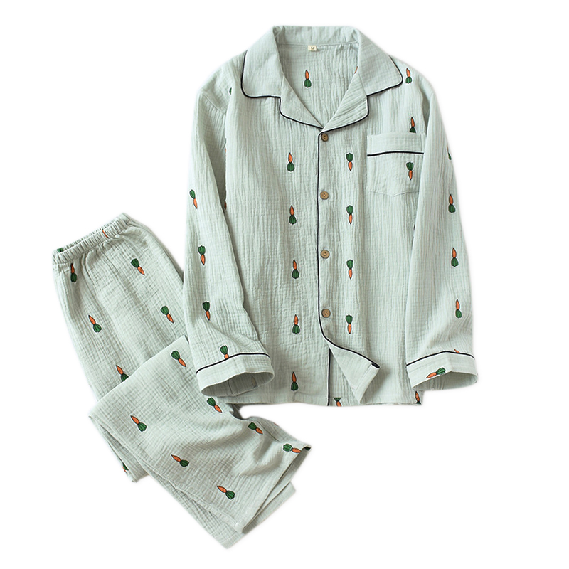 Cute Carrot 100% Crepe Cotton Sleepwear Men Pajamas Sets Two Piece Pyjamas Hombre Long-sleeve Male Pajamas Sets Soft Autumn 2019