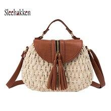 Handmade Oval Women Rattan Bag Straw Woven Shoulder Bags Female Summer Beach bohemian tassel Sling Crossbody Wicker