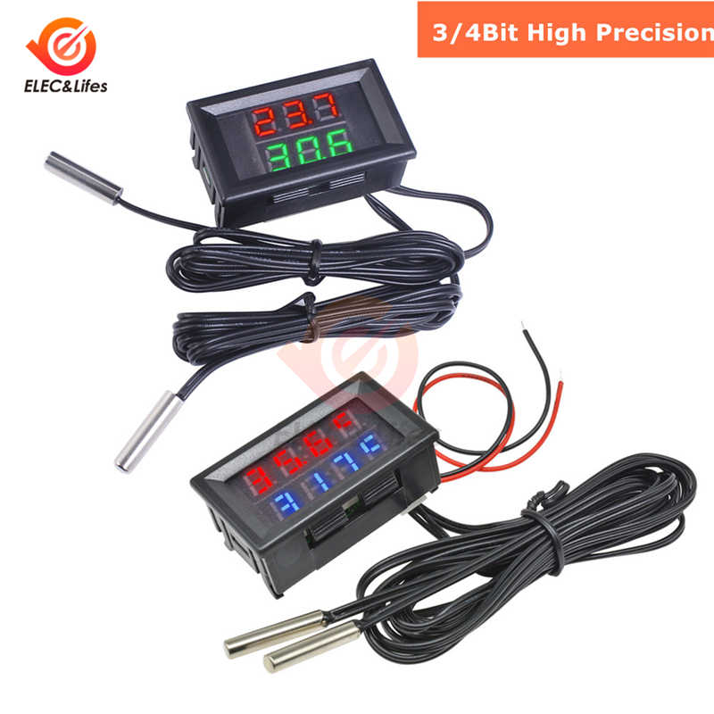 4-28V 3/4 Bit Precision LED Digital Temperature Controller เทอร์โม Cooler Heater thermoregulator W/Dual NTC กันน้ำ probe