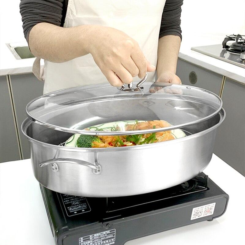 Cuiseur à vapeur ovale de 38cm d'épaisseur | Cuiseur vapeur ménagère en acier inoxydable, 1 couche, artefact de plat de poisson à la vapeur pour cuisinière à Induction