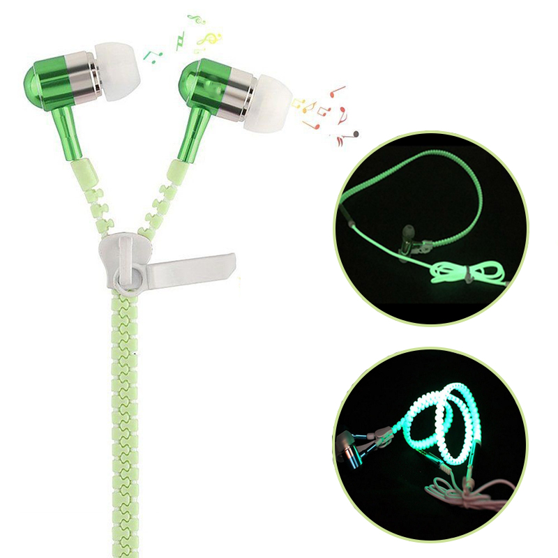 8 Colors Universal In-Ear Glow Earphone Luminous Light Metal Zipper Headset Portable Sport Running Earphones For Iphone Android