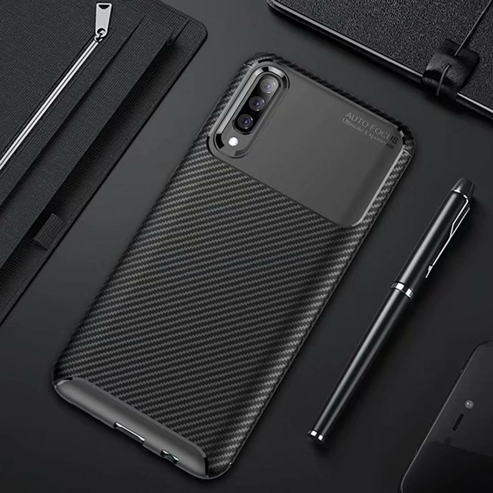 Funda de fibra de carbono para Samsung Galaxy A70 A50, protección completa 360, A prueba de golpes