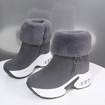 Женские ботильоны, теплая плюшевая зимняя обувь для женщин, ботинки на высоком каблуке, женские ботинки для снега, зимняя обувь, увеличивающ...