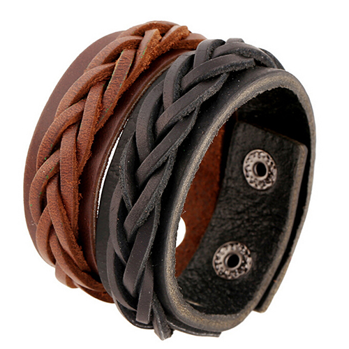 Punk Men Leather Bracelet Braided Bangle Wristband Cuff Rope Bracelets Bangles Black Brown Color Male Gift