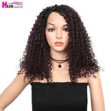 14inch Short Hair Kinky Curly Wig Synthetic Lace Front Wig African American Brown Color Lace Wigs For Black Women Hair Expo City african american synthetic hair wigs glueless lace front wig natural soft synthetic lace front wig for black women free shipping
