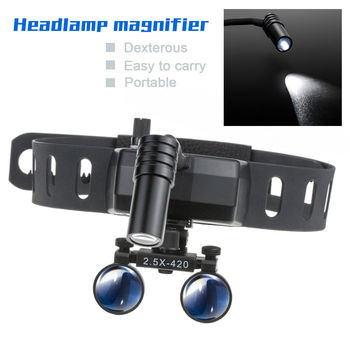 цена на Medical Surgical Magnifier Headband magnifying Dental Loupes with 5W LED Lights Headlight 2.5X420MM/3.5X-340MM