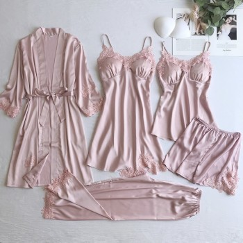 Sexy Women Lace Home Wear Sleep Set Casual Satin Gray Sleepwear Clothing  Silky Solid 5PCS Suit Nightgown - discount item  32% OFF Women's Sleep & Lounge