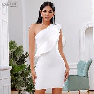 Image 2 - ADYCE 2019 yeni yaz kadın bandaj elbise ünlü akşam parti elbise seksi bir omuz Ruffles Bodycon kulübü elbiseler Vestidos