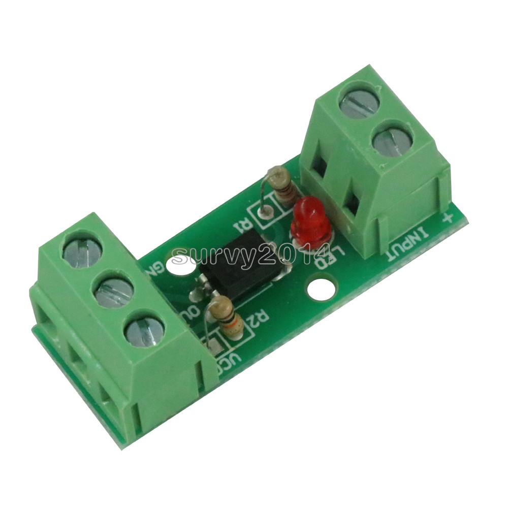 One 1 Channel 12V Isolated Board Optocoupler Isolation Module No Din Rail Holder PLC Processors 80KHz PC817 EL817 3000V Voltage