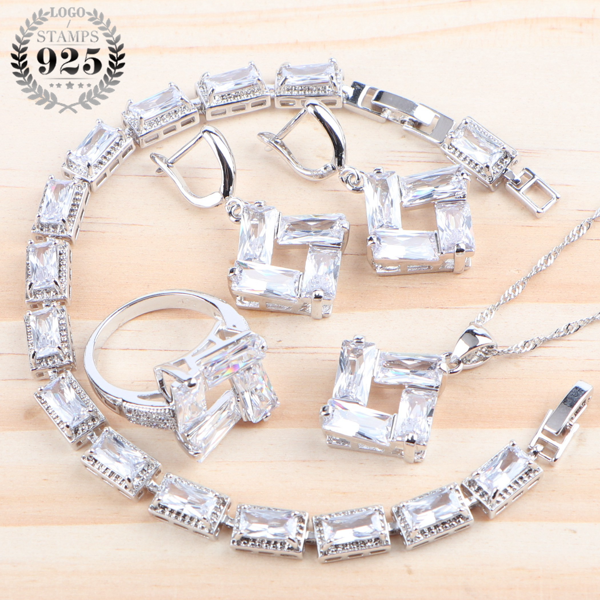 Wedding Cubic Zirconia Women Luxury Jewelry Sets 925 Sterling Silver White Ring Bracelet Earrings Pendant Necklace Set Gifts Box