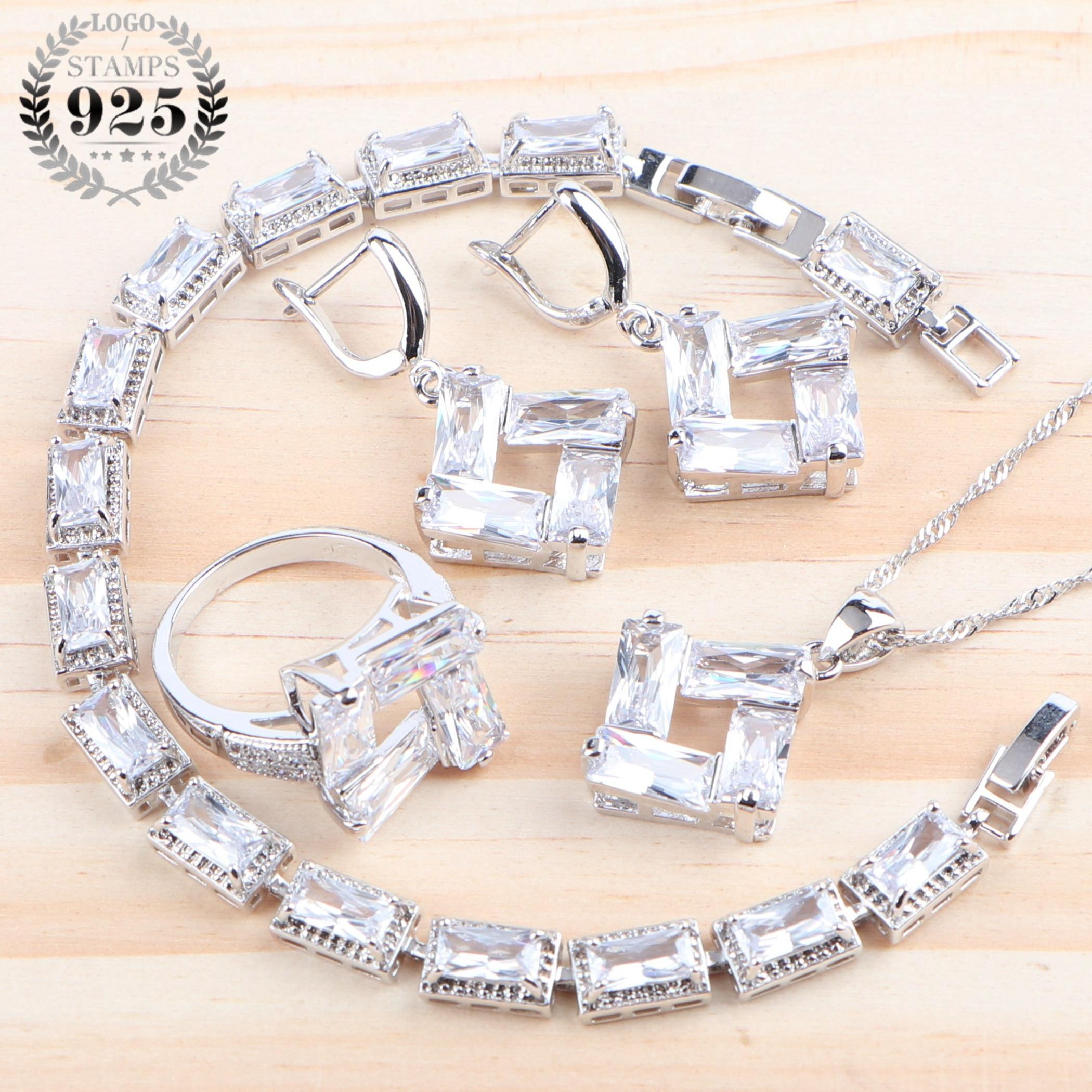 Wedding Cubic Zirconia Women Luxury Jewelry Sets 925 Sterling Silver White Ring Bracelet Earrings Pendant Necklace Set Gifts Box