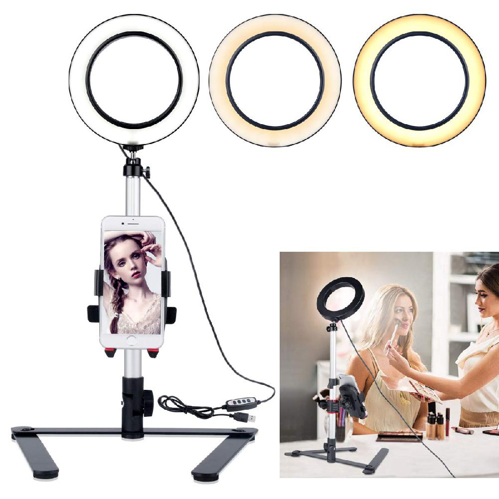 HobbyLane 5 7inch Ring Light with Desktop Stand Mini LED Camera Light with Cell Phone Holder for YouTube Video and Makeup d30