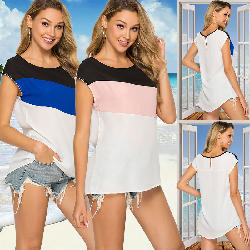 Womens Blouses Stitching Round Neck Casual Loose short-sleeved Blouses Side Bow Party Shirt Color