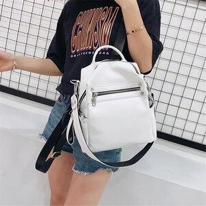 Image 2 - 2019 Yaz Yeni Yüksek Kaliteli PU Deri Bayan Küçük Sırt Çantası Çok fonksiyonlu Moda omuzdan askili çanta Katı Yumuşak kadın çantası