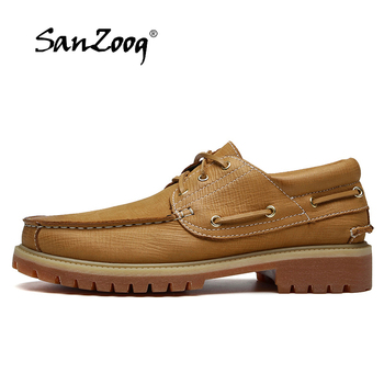 Spring Autumn Genuine Leather Men Shoes Boat Zapatos De Hombre Cuero Genuino Sapato Masculino Social Chaussure Homme Cuir Casual khaki color genuine leather casual shoes men shoes top cow leather fashion warm men shoes zapatos de hombre chaussure homme