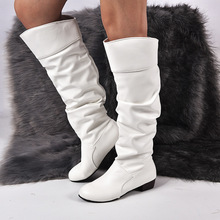 High Quality Knee Boots Women Soft Leather Winter Autumn Warm Fur Long Shoes