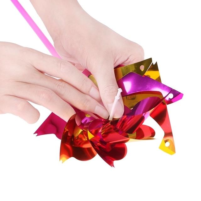 Nouveau 10 pièces en plastique moulin à vent Pinwheel vent Spinner enfants jouet jardin pelouse fête décor couleur aléatoire enfants cadeau