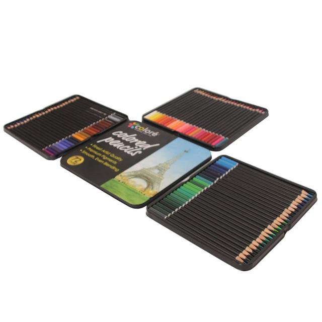 72 أقلام رصاص ملونة مع صندوق حديد مجموعة أقلام رصاص نابضة بالحياة تأثيرات خلط جميلة رسم فني رسم تظليل تلوين قلم رصاص هدية