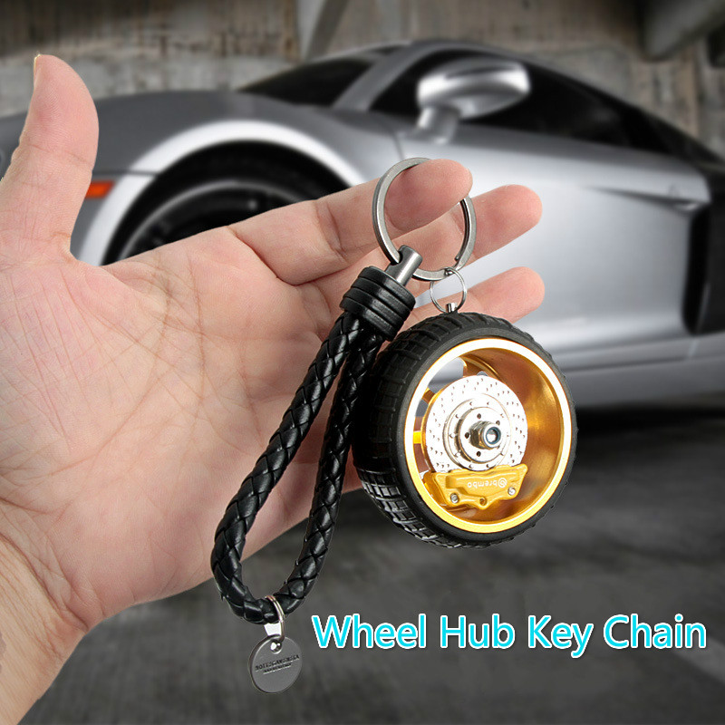 Motorcycle Car Accessories Wheel Hub Keychain Zinc Alloy Rubber BV Woven Key Chain Innovative Gift 6 Color Fashional Key Rings