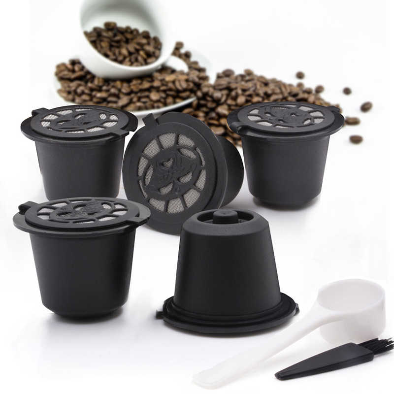 5P/kit Filter Coffee Capsules Pods Stainless&Spoon For Nespresso Machines