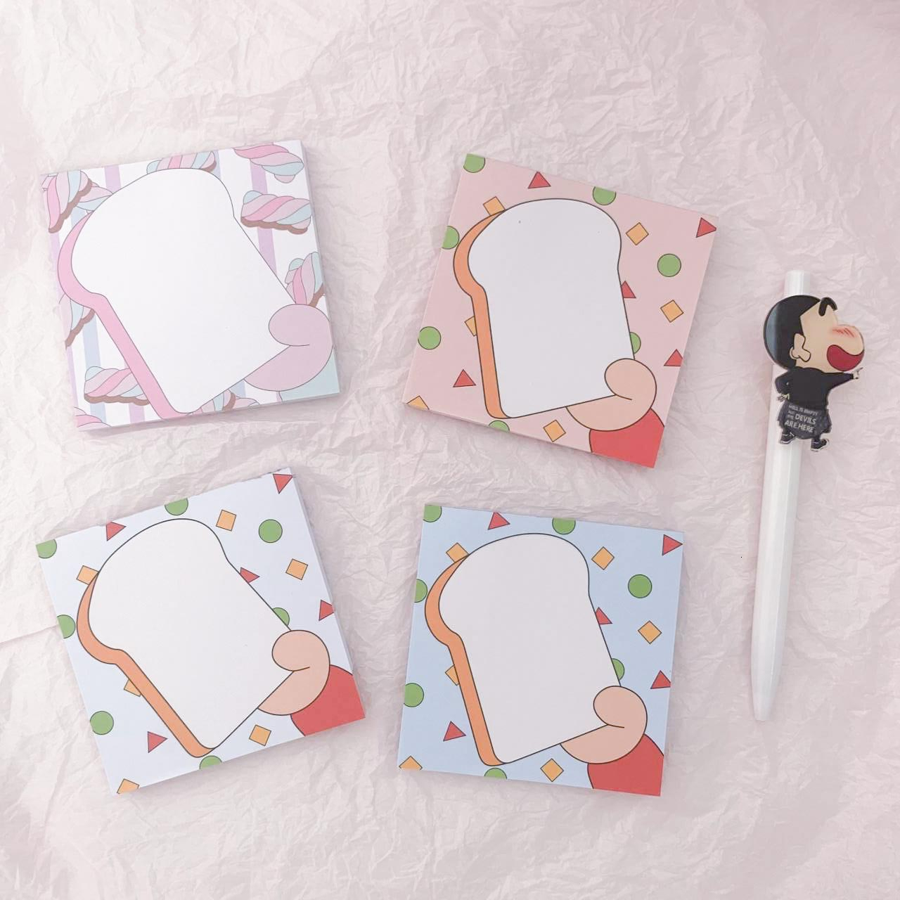 SIXONE 80 Sheets Ins Girl Heart Toast Cohesionless Leave Message Paper Kawaii Student Memo Pad Hand Account Diary Stationery