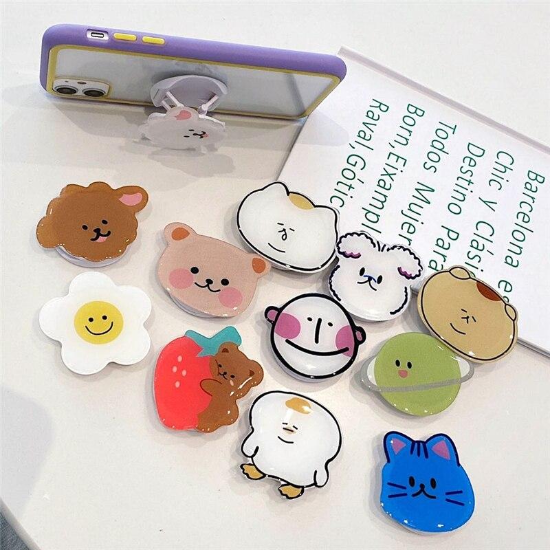 wholesale Super lovely Mobile Phone Ring Holder Socket Korea ins Cute Phone Holder Cartoon Bear Bracket Hand Grip Mount Stand