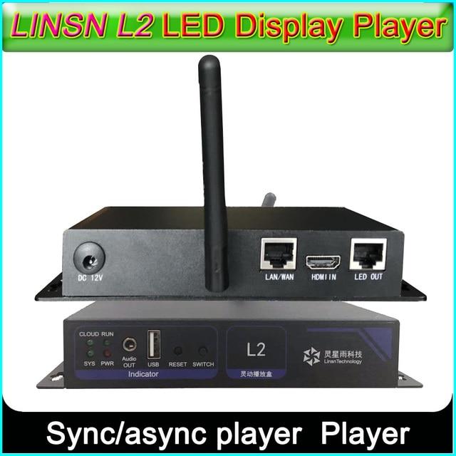 Linsn l2 sync/jogador assíncrono, wifi/lan/método usb cor cheia display led remetente