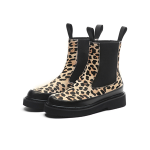 Image 4 - MORAZORA 2020 top quality horse hair ankle boots for women Leopard autumn winter boots slip on thick heels casual shoes woman