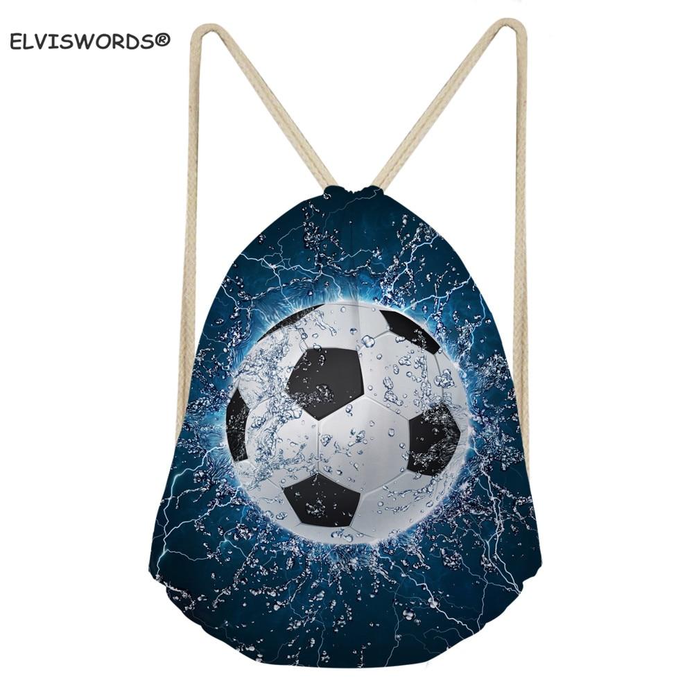 ELVISWORDS Cool Football Print Drawstring Bag 3D Soccer Storage Bag Kids Bookbag Gift For Boys Teenage Sport Gym Sack Beach Bags