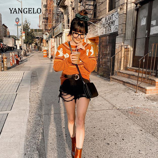 Yangelo Gothic Ghost Pattern Sweater Women Knit Top Loose Long Sleeves Warm Autumn Winter Streetwear Fashion Girl Pullover 2020 2