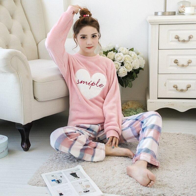 2019Autumn Winter Pajamas Cartoon Thick Warm Women Sleepwear Flannel Women Pajamas Sets Cute Animal Female Homewear M L XL XXL