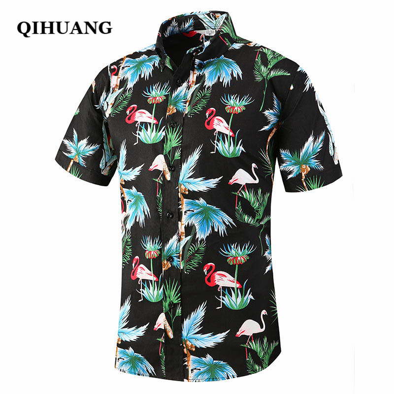 QIHUANG Men Hawaiian Shirt Summer Short Sleeve Tropical Floral Flamingos Button Down Beach Party Shirt Cotton Plus Size Shirts