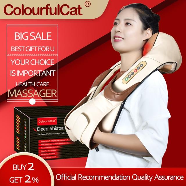 $ US $20.94 Neck Massager Electric Shiatsu for Back Body Shouder Massage Roller Car Relaxer Massageador  Masajeador Health Care