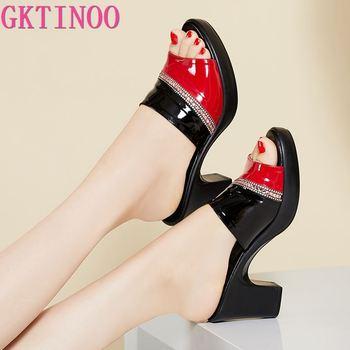 GKTINOO Women Slipper's 2021 Ladies Summer Slippers Genuine Leather Shoes High Heels Fashion Rhinestone - discount item  53% OFF Women's Shoes