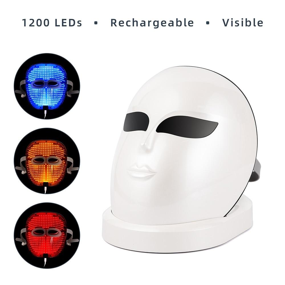 Upgrade Version 3 Color 1200PCS LEDS Facial Mask LED Light Therapy Machine Skin Rejuvenation Tighten  Anti Wrinkle Acne Removal